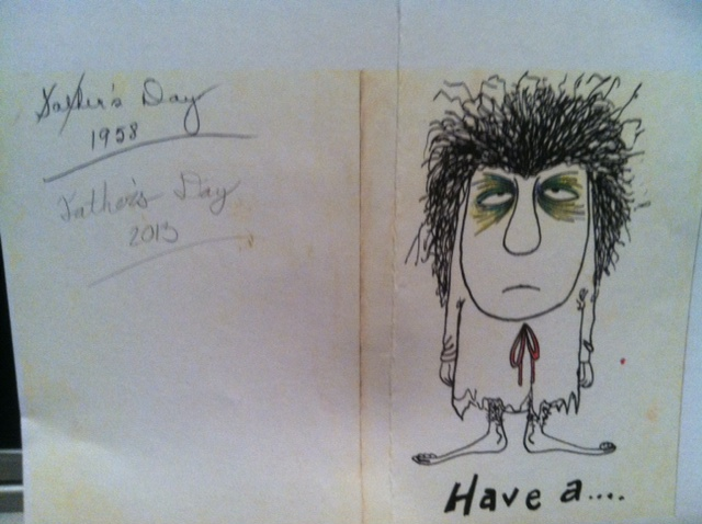 Exterior of the card, with cartoon by my dad.