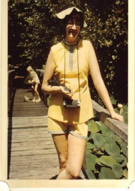 Mom, circa 1974. Shorts set probably from Sears; Hat courtesy of God. Picture probably by my dad.
