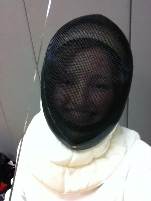 Em in fencing mask